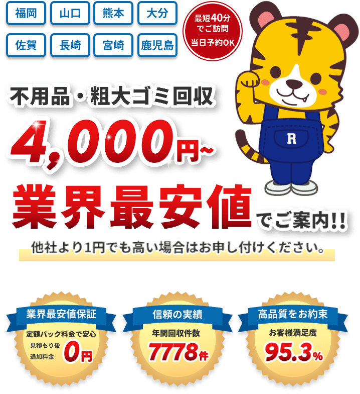不用品・粗大ゴミ回収 4,000円〜業界最安値でご案内!